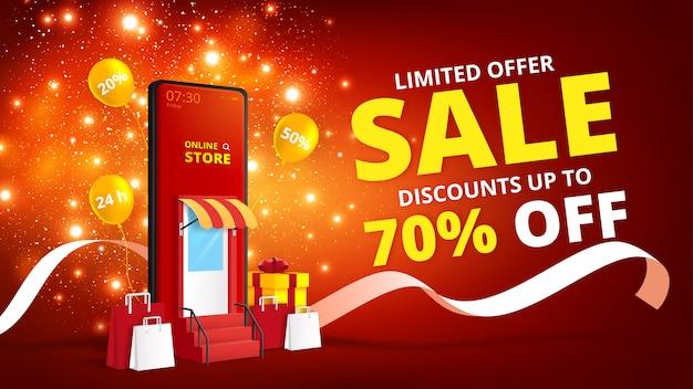 Интернет-магазин с мобильным приложением. цифровой маркетинг и продажи баннер фон.
