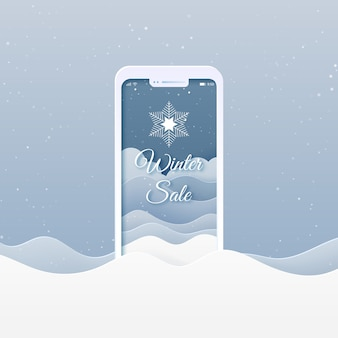 Online shopping store with mobile application.winter sale,merry christmas and happy new year banner background.