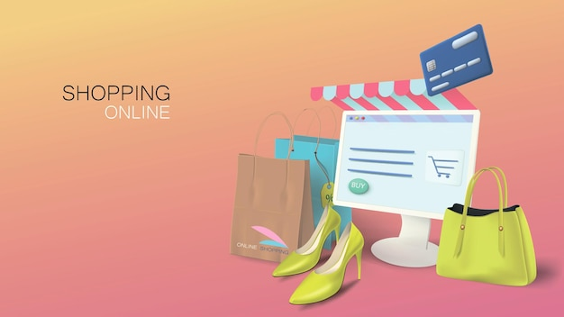 Online shopping store on your home computer. conceptual banner for web with realistic goods and bags.