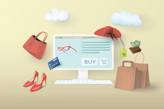 Online shopping store on your home computer. web banner with realistic goods and bags and conceptual clouds