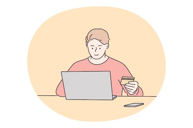 온라인 쇼핑, 기술, 비즈니스 개념. 노트북으로 앉아 젊은 행복 한 사람 프리랜서