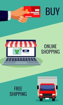 Online shopping technology in laptop with credit card and truck  illustration