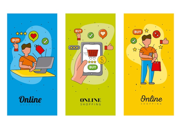 Online shopping technology with user buyers  illustration