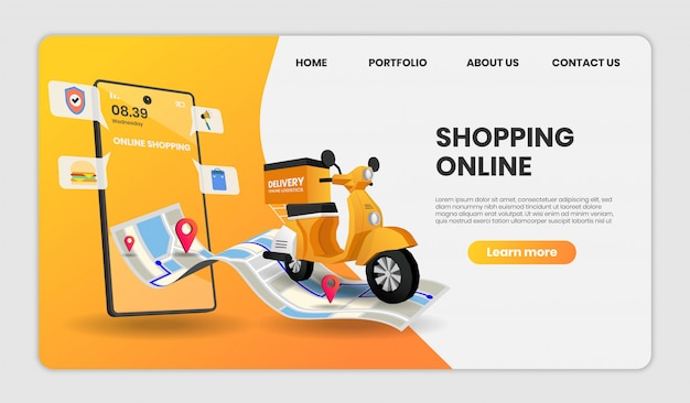 Online shopping template landing page
