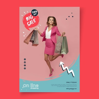 Online shopping template poster