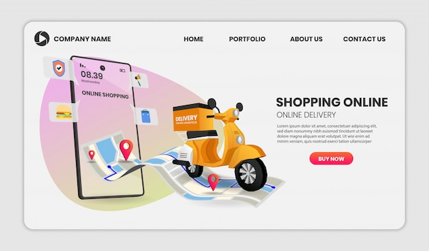 Online shopping templates service for food and package online shopping delivery service with motorcycle. 3d illustration,hero image for website