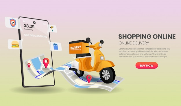 Online shopping templates service for food and package online shopping delivery service with motorcycle.  .
