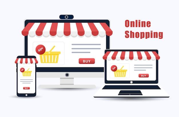 Онлайн шоппинг. каталог продукции на странице веб-браузера. компьютер, ноутбук и мобильный телефон. корзина. современная иллюстрация в плоском стиле.