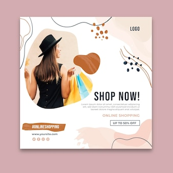 Online shopping time squared flyer template