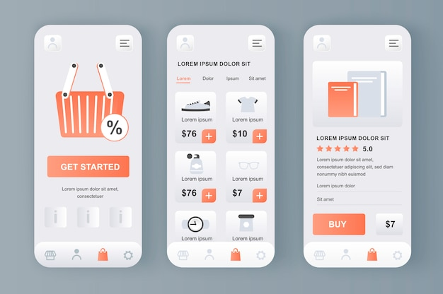 Online shopping unique neomorphic  kit for app. shopping platform with purchases section, description and prices. internet marketplace ui, ux template set. gui for responsive mobile application.