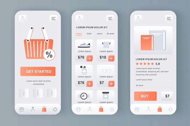 앱을위한 온라인 쇼핑 고유의 신형 키트. 구매 섹션, 설명 및 가격이 포함 된 쇼핑 플랫폼. 인터넷 마켓 플레이스 ui, ux 템플릿 세트. 반응 형 모바일 애플리케이션을위한 gui.