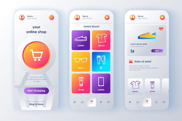 온라인 쇼핑 고유의 신형 키트. 주문 바구니, 제품 설명 및 가격이 포함 된 쇼핑 앱. 인터넷 마켓 플레이스 플랫폼 ui, ux 템플릿 세트. 반응 형 모바일 애플리케이션을위한 gui.