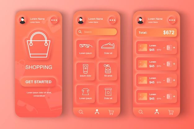 アプリのためのオンラインショッピングのユニークなニューモフィックデザインキット。