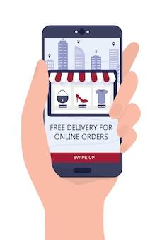 Покупки в интернете с помощью устройств. мобильный маркетинг и технология ppc. рука смартфон с бесплатной доставкой рекламы.