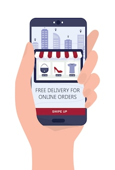 Online shopping using devices. mobile marketing and ppc technology. hand holding a smartphone with free delivery advertisment.