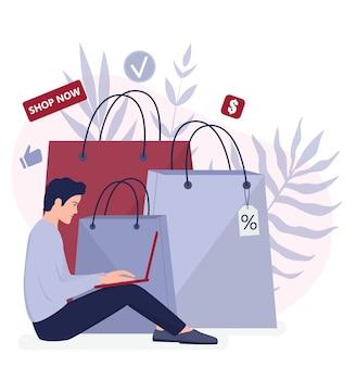 Покупки в интернете с помощью устройств. современные технологии, интернет и веб-баннер электронной коммерции. мобильный маркетинг и технология ppc. обслуживание клиентов и доставка.