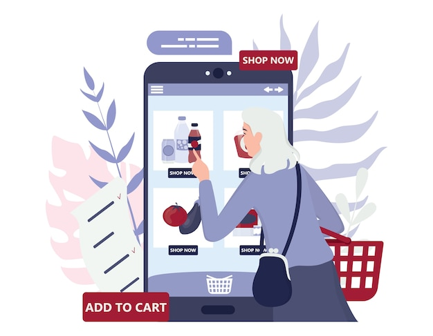Online shopping using devices. modern technology, internet and e-commerce