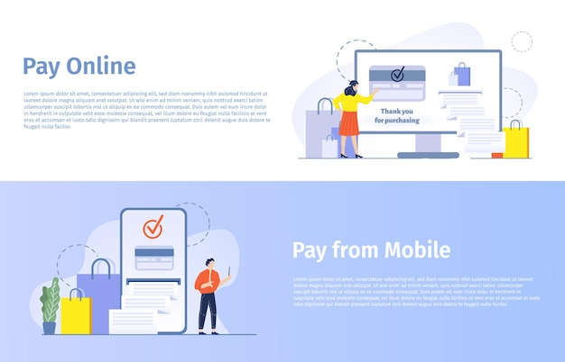 Online shopping vector banner. woman buying products in internet, paying with credit card and getting cheque