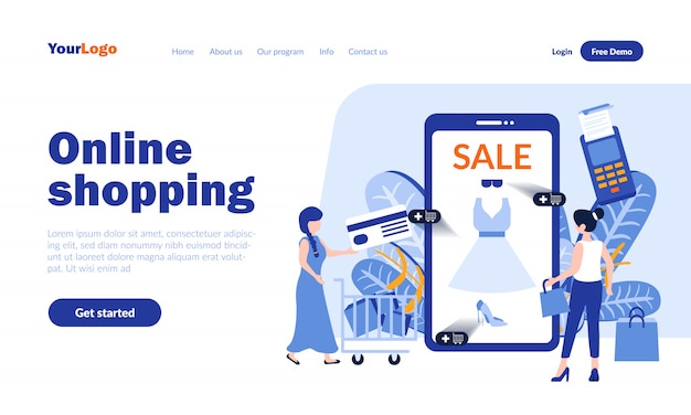 Online shopping vector landing page  with header