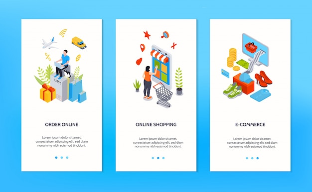 Online shopping vertical banners with people ordering goods online by internet isometric