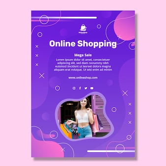 Online shopping vertical flyer template