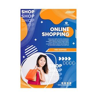 Modello di poster verticale dello shopping online