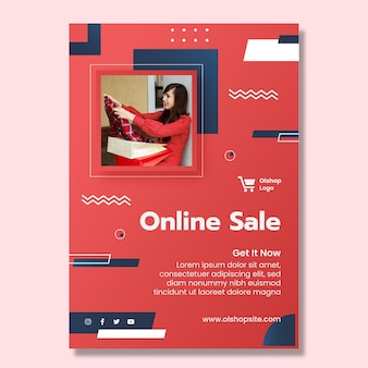 Online shopping vertical poster template