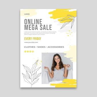 Modello di poster verticale per lo shopping online