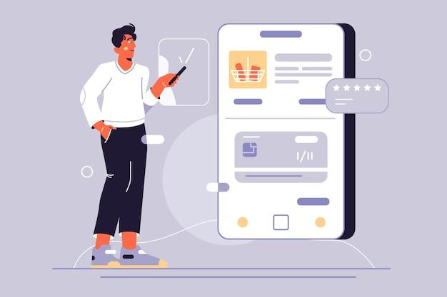 전화 그림을 통해 온라인 쇼핑. 스마트 폰을 사용하여 음식 쇼핑을하는 사람.