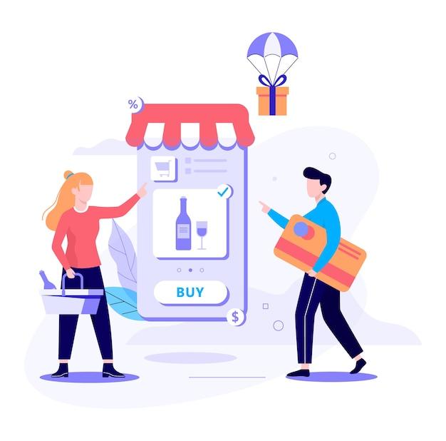 オンラインショッピングのwebバナーのコンセプト。 eコマース、セール中の顧客。携帯電話上のアプリ。酒屋。スタイルのイラスト