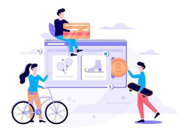 Интернет-магазин концепции веб-баннера. электронная коммерция, покупатель в продаже. приложение на мобильном телефоне. спортивный магазин. иллюстрация в стиле