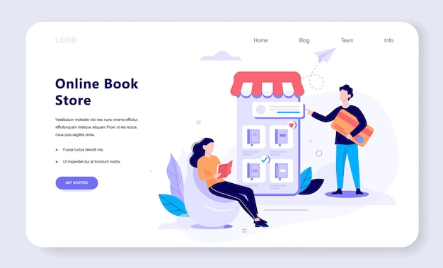 Online shopping web banner concept. e-commerce, customer on the sale. app on mobile phone. book store.   illustration in  style