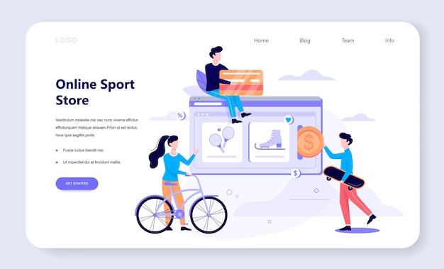 Online shopping web banner concept. e-commerce, customer on the sale. app on mobile phone. sport store.   illustration in  style