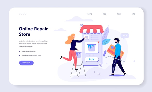 Online shopping web banner concept. e-commerce, two female and male customer choosing repair tools, paint, kit. web page . internet marketing.   illustration in  style