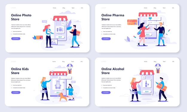 Online shopping web banner concept set. e-commerce, customer on the sale. app on mobile phone. photo, alcohol and pharmacy store.   illustration in  style