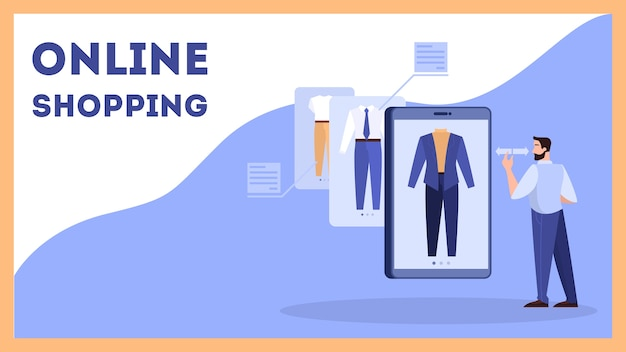 オンラインショッピングのwebバナーのコンセプトセット。電子商取引