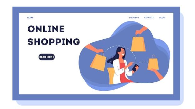 온라인 쇼핑 웹 배너. 고객 서비스 및 배송, 추적 및 구매. 전자 상거래 웹 배너. 온라인 쇼핑 및 모바일 마케팅. 삽화