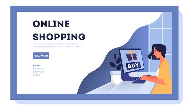 Online shopping web banner. customer service and delivery, tracking and purchase. e-commerce web banner. online shopping and mobile marketing.    illustration