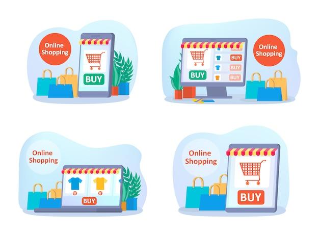 Online shopping on website set.