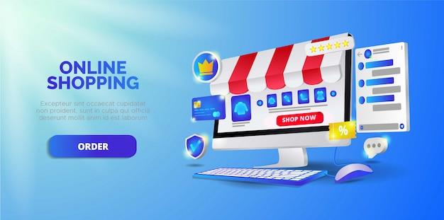 Online shopping on website.