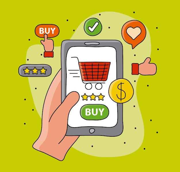 Online shopping with buyer hand and cart in smartphone  illustration
