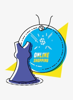 Online shopping with clothes vector illustration design