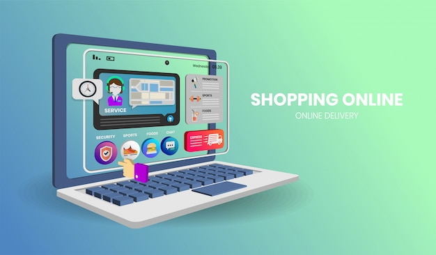 Online shopping with computer  for banner
