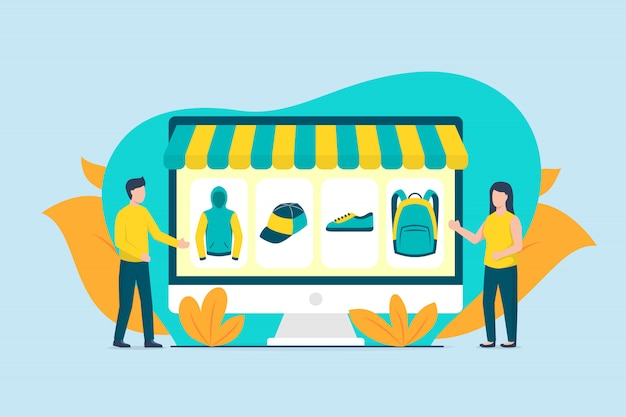 Online shopping with computer desktop with couple man and woman with modern color tone