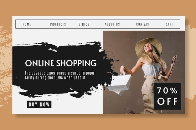 Online shopping with discount landing page