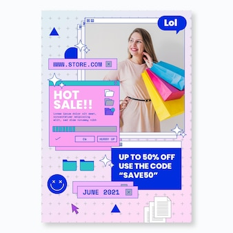 Online shopping with discount poster