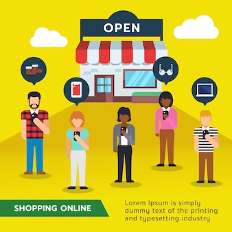 Online shopping with flat people characters