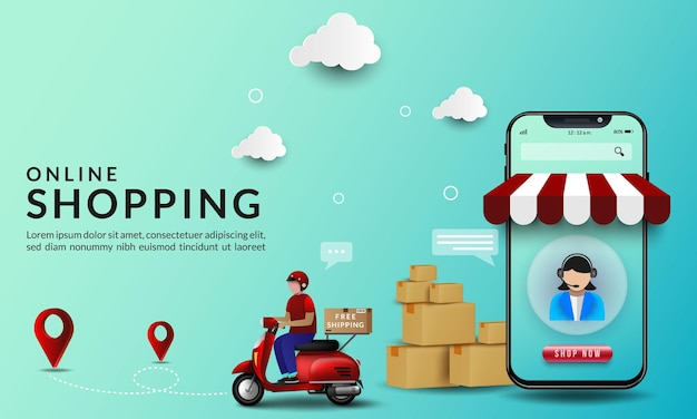 Online shopping with illustrations on the delivery of goods using a motorcycle