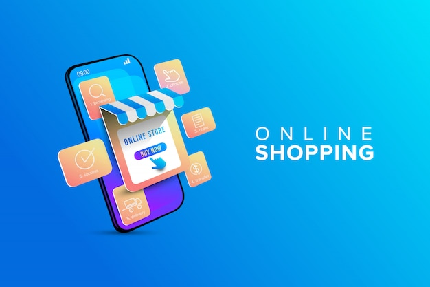 Online shopping with infographic shopping step