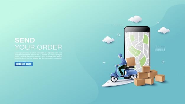 地図イラストと商品配送バナー付きオンラインショッピング